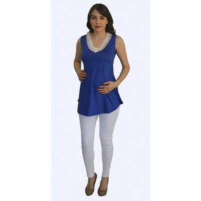 Blue Sleeveless White Skinny Slacks Women Maternity Set Bottom Blouse Two Piece
