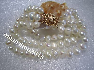 baroque  8-9mm south sea  3 strands white pearl bracelet 7.5-8'' 14K Gold Clasp