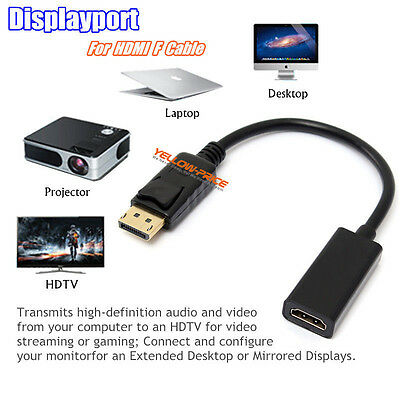 Full 1080P DisplayPort DP to HDMI VGA DVI Adapter Cable Converter For HP HDTV PC