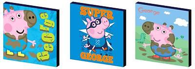 GEORGE PIG - peppa - CANVAS ART BLOCKS/ WALL ART PLAQUES/PICTURES