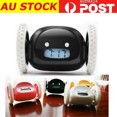 Runaway Alarm Clock LCD Display Creative Running Clocky Moving Wheels Black AU
