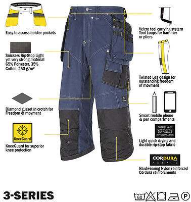 Snickers Trousers 3923 Rip-stop Pirate Work Trousers, SnickersDirect Navy