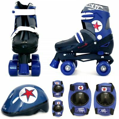 Boys Blue Black Quad Skates Kids Padded Roller Boots Safety Pads Helmet Set New