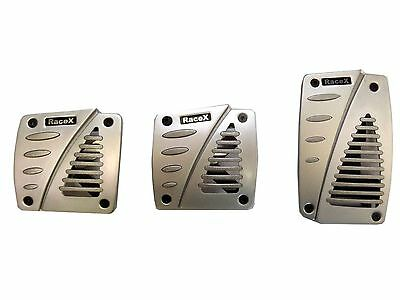 Universal Alloy Sports Racing Pedals set for car Brushed Matt Silver Rubber Grip