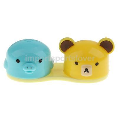 Happy Cute Animal Head Pocket Size Storage Box Container Contact Lens Holder