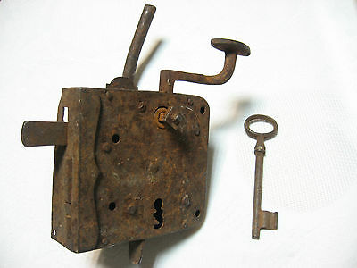 VTG 18th C RARE ANTIQUE OLD OTTOMAN WROUGHT HAND FORGED MORTISE DOOR LOCK W/ KEY