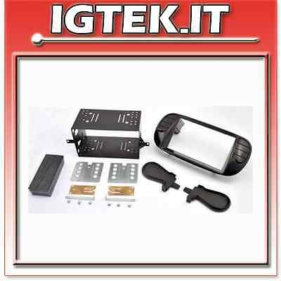 Mascherina Autoradio Kit Doppio Din Nero Opaco Soft Touch Fiat New 500