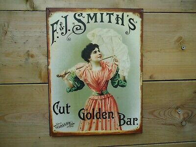 Victorian Metal Picture Plaque Sign F.J. Smiths Cut Golden Bar / steel / Vintage
