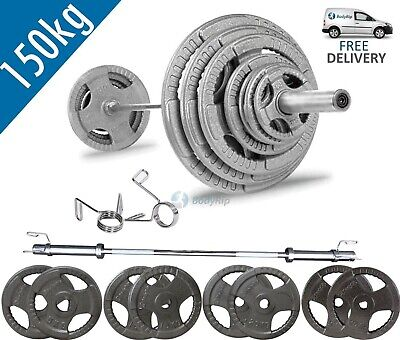BodyRip Tri Grip Olympic 150kg Weight Set with 7FT Barbell and Collars