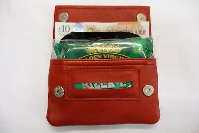 Soft Leather Tobacco Pouch Organizer with Space for Money Brown Perforated
