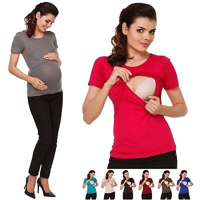 Zeta Ville - Women's Maternity Nursing T-shirt Layer Design - Round Neck - 991c