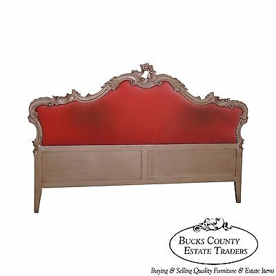 Quality Vintage French Louis XV Style Upholstered King Size Headboard