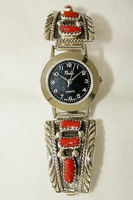 Signed Navajo Sterling Silver 6 Stone Genuine Coral Ladies Watch