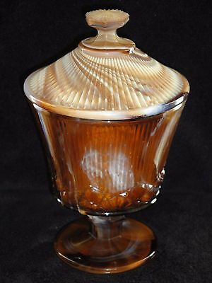 Imperial Caramel Slag Glass Whiskbroom Footed Covered Jar Candy Dish #611
