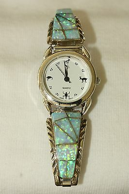 Signed Navajo Sterling Silver Blue Opal Inlay Ladies Watch