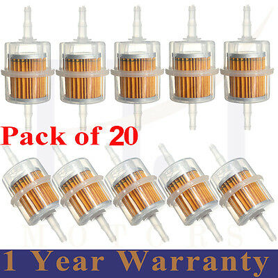 20 x Universal Petrol Inline Fuel Filter Large Car Part Fit 6mm 8mm Pipes
