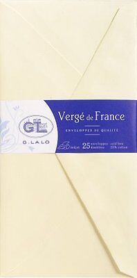 G.Lalo 25 Enveloppes Papier Verge Doublee Gommee 110 x 220 mm Ivoire G. Lalo