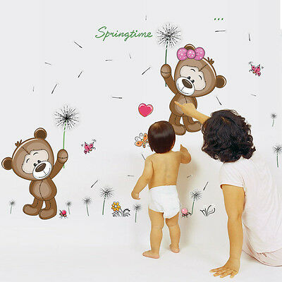 QT-0013 DIY Cute Bear Dandelion The Kindergarten Children Room Waterproof