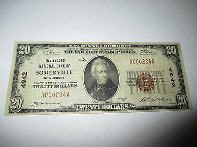 $20 1929 Somerville New Jersey NJ National Currency Bank Note Bill! #4942 FINE