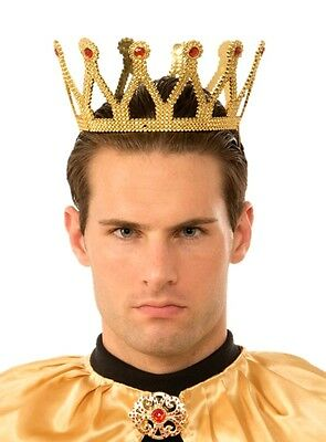 Gold Medieval Royal King Plastic Crown Prince Costume Accessory Adult New