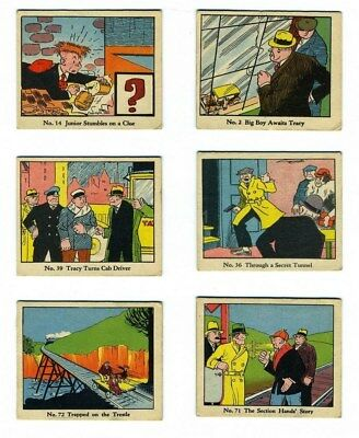 6 trading cards 1930s DICK TRACY Walter Johnson Caramels COLOR #2 14 36 39 71 72