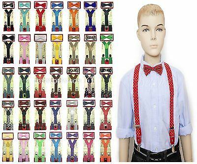 36 Matching Colors Suspender Bow-Tie Combo Toddler Kids Boys Girls Child 2pc Set