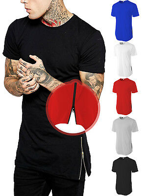 RD Mens LONG T-SHIRT ZIPPER Trim Hipster Extended HipHop Elongated Style Tee