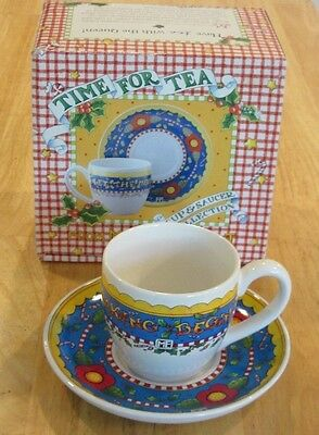 Mary Engelbreit HOLIDAY TIME FOR TEA Cup & Saucer Set LET THE MERRY MAKING BEGIN