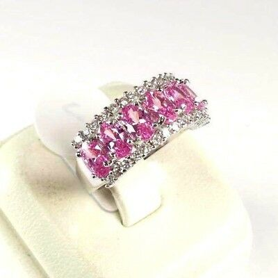 "R#10281 ""Simulated"" Imperial Pink Topaz gemstone ladies silver ring Size 7"