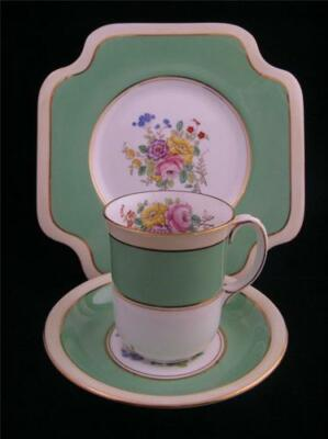 Royal Grafton TRIO Coffee Cup / Saucer / Plate HAMPTON Pttrn #5382 Green Floral
