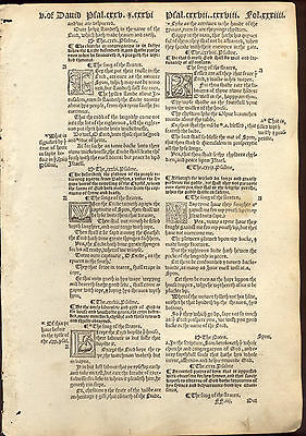 1549 Matthews/tyndale Bible Leaf/rare/psalms 124-134/except The Lord Build...!