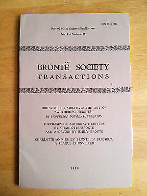 BRONTE SOCIETY Transactions 1980, Charlotte Brontë sisters Wuthering Heights
