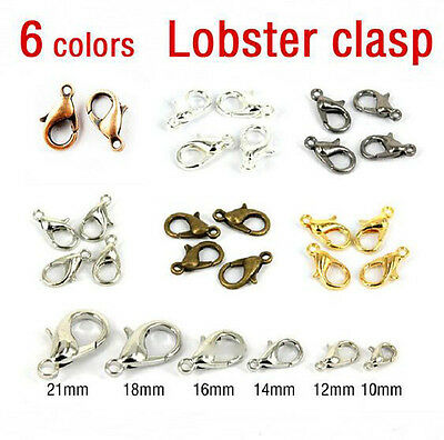 50/100Pcs Silver/Gold/Bronze Lobster Claw Clasps Hooks Finding DIY 10/12/14/16mm