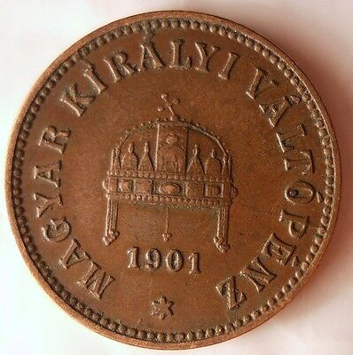 1901 HUNGARY 2 FILLER - Excellent Vintage Coin - AUSTRIA/HUNGARY BIN #2