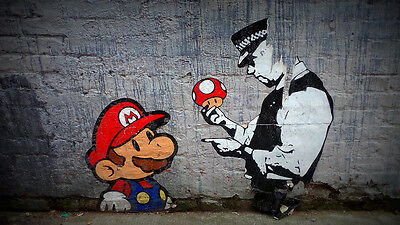 Painting Graffiti Street Art  Banksy Mario Brother Police Print Large Canvas