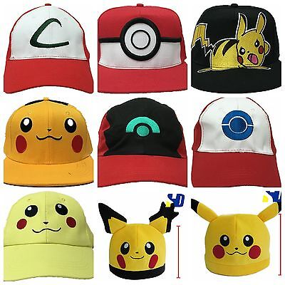 NEW! Pokemon GO Cap Hat Ash Ketchum Costume Cosplay Embroidery Character Trainer