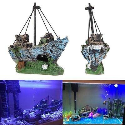 Aquarium Ornement Wreck Sail Boat Destroyer navire coulé Fish Tank Cave Décor AF