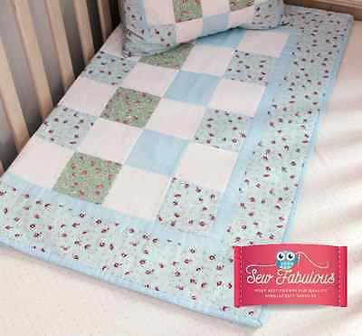 Cot Quilt Kit in Blue Contains Fabrics & Instructions for this Beautiful Panel