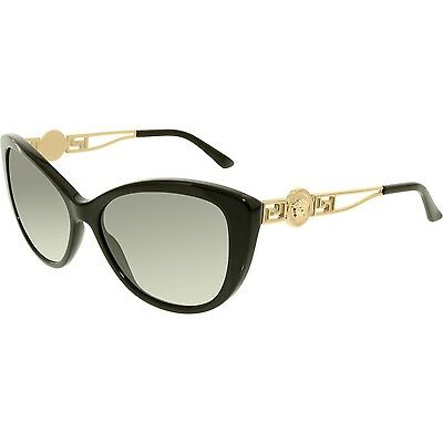 Versace Women's VE4295-GB1/11-57 Black Cat Eye Sunglasses
