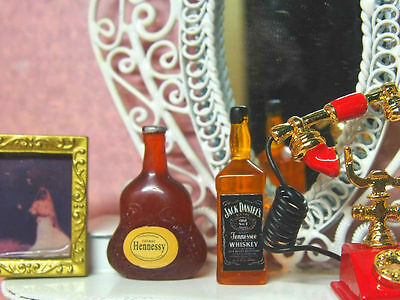 Miniature Whiskey & Hennessy Cognac Wine 1:12 Scale Bottles Alcohol Dollhouse