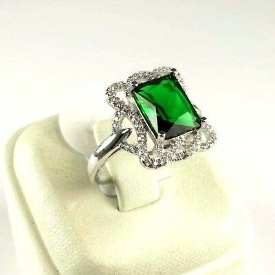 "R#9964 ""Simulated"" Green Emerald gemstone ladies silver ring Size 6.75"