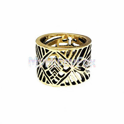 Lucky Brand Antiqued Gold Tone Geometric Tribal Style Cutout Openwork Ring