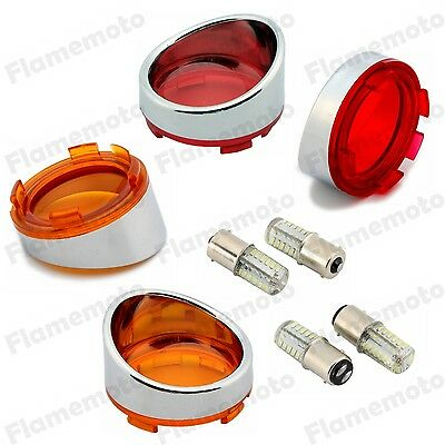 4Pcs Bullet Turn Signal Light Amber Red Visor Lenses Bezel LED Bulb For Harley