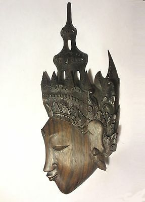 """Great Low Price! 10"""" Thailand Crowned Goddess Vintage Carved Black Ebony Plaque"""