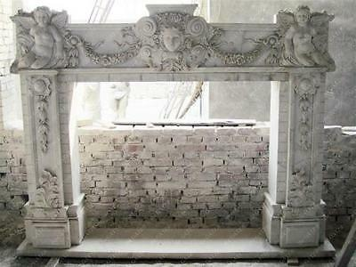 Marble Fireplace Mantel features Incredible Detail in Cherub Angels and Face