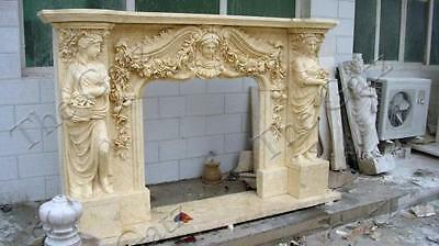 Marble Fireplace Mantel Featuring Female Statues and Floral Swags, Carved Detail