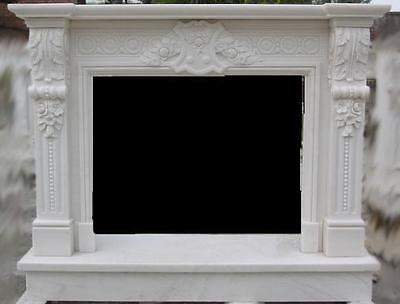 Marble Fireplace Mantel includes Detailed Carvings and Crest