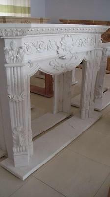 Designer Style Hand Carved White Marble Fireplace Mantel, Elegant