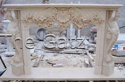 Heavily Carved Marble Fireplace Mantel with Cherub Legs and carved Swags,