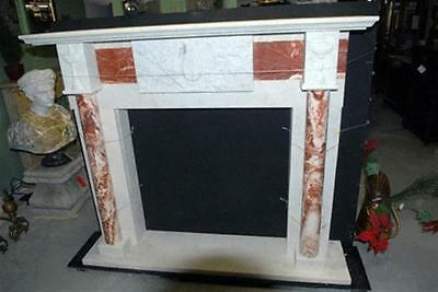 Hand Carved Marble Fireplace Mantel with Columns and CenterRelief. Red and White